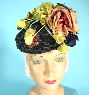 Black White Rose Daisy Flower Fascinator Pillbox Hat Races Wedding 1950s 5308