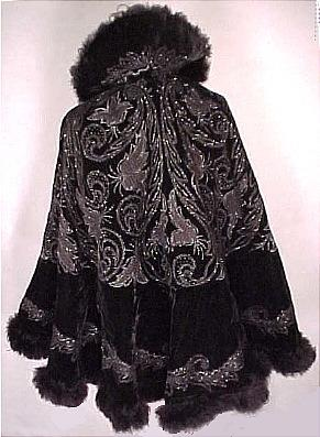 c. 1900 HUBERT & RIGUERE DEPOSE PARISIAN Black Velvet Jet Beaded Opera Cape Trimmed in Marabou Feathers