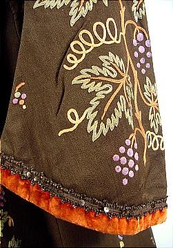 c. 1890 Museum Quality Tambour Embroidery Wool Robe